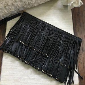 Deux Lux Oversized Fringe Clutch Bag - Black